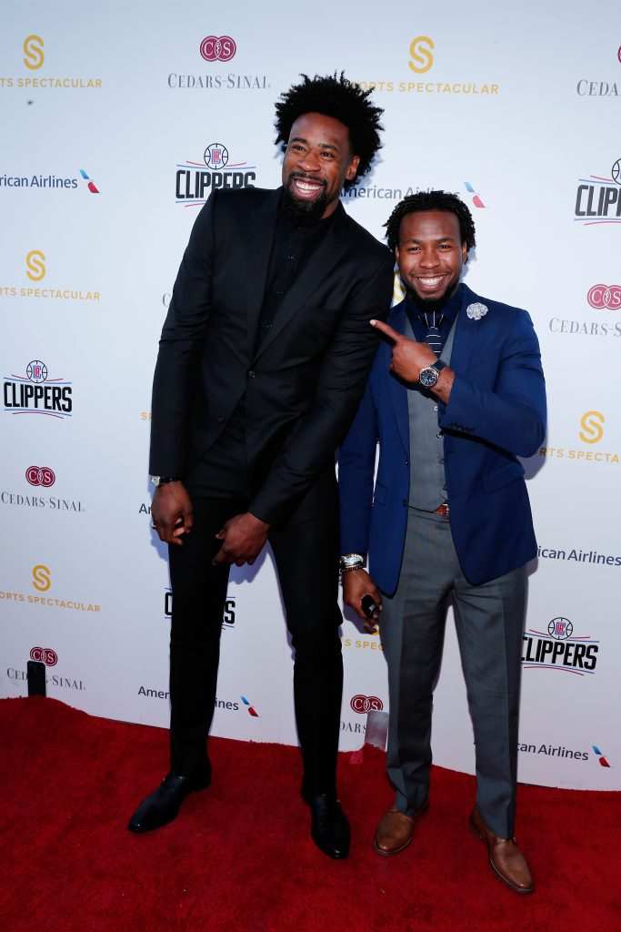 LOS ANGELES, CA - MARCH 25:  NBA player DeAndre Jordan and NFL player Josh Norman attend the Cedars-Sinai Sports Spectacular at W Los Angeles – West Beverly Hills on March 25, 2016 in Los Angeles, California.  (Photo by Rich Polk/Getty Images for Sports Spectacular) *** Local Caption *** Josh Norman;DeAndre Jordan